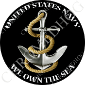 Premium Round Decal - USN Anchor - We Own the Sea