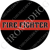 Premium Round Decal - Red Line - Fire Fighter - Black