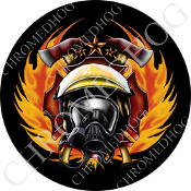 Premium Round Decal - Fire Fighter - Black NT