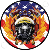 Premium Round Decal - Fire Fighter - USA Flag NT