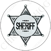 Premium Round Decal - Sheriff Badge - White