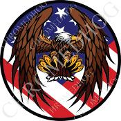 Premium Round Decal - Eagle - Flying - USA Flag