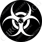 Premium Round Decal - Hazard - White