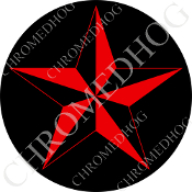 Premium Round Decal - Star - Red/ Black
