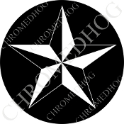 Premium Round Decal - Star - White/ Black