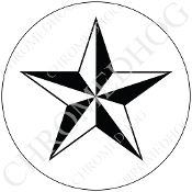Premium Round Decal - Star - Black/ White