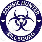 Premium Round Decal - Zombie Hunter - Blue/ White
