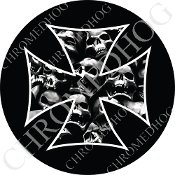 Premium Round Decal - Iron Cross - Skull Pile - Black