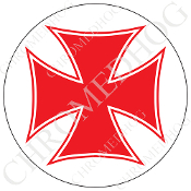 Premium Round Decal - Iron Cross - Red/ White