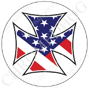 Premium Round Decal - Iron Cross - USA Flag - White