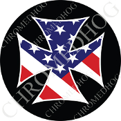 Premium Round Decal - Iron Cross - USA Flag - Black