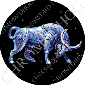 Premium Round Decal - Zodiac - Taurus - Blue/ Black