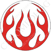 Premium Round Decal - Flame - Red/ White