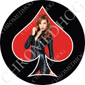 Premium Round Decal - Pin Up Spade - Jumper - Red/ Black