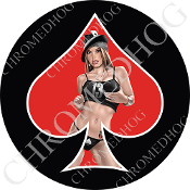 Premium Round Decal - Pin Up Spade - Lucky 13 - Red/ Black