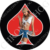 Premium Round Decal - Pin Up Spade - School - Red/ Black