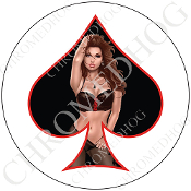 Premium Round Decal - Pin Up Spade - Lace - Black/ White