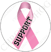 Premium Round Decal - Pink Ribbon - White - Support