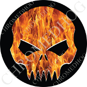Premium Round Decal - Evil Skull - Real Flame/ Black