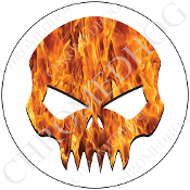 Premium Round Decal - Evil Skull - Real Flame/ White