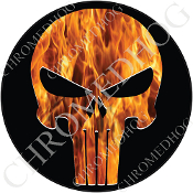 Premium Round Decal - Punisher Skull - Real Flame/ Black
