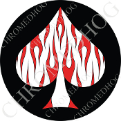 Premium Round Decal - Spade - Red Flame - White/ Black