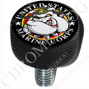 Harley Custom Seat Bolt - L KN Black Billet - USMC Devil Dog