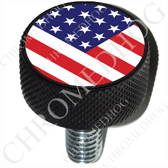 Harley Custom Seat Bolt - L KN Black Billet - Flag - USA V