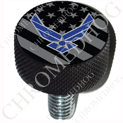 Harley Custom Seat Bolt - L KN Black Billet - USAF - G Flag