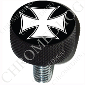 Harley Custom Seat Bolt - L KN Black Billet - Iron Cross - WB