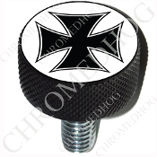 Harley Custom Seat Bolt - L KN Black Billet - Iron Cross - BW