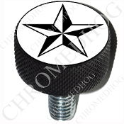 Harley Custom Seat Bolt - L KN Black Billet - Star - Black/White