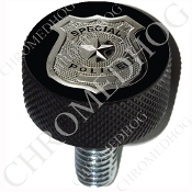 Harley Custom Seat Bolt - L KN Black Billet - Police Badge - B2