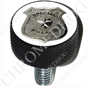 Harley Custom Seat Bolt - L KN Black Billet - Police Badge - W2