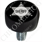 Harley Custom Seat Bolt - L KN Black Billet - Sheriff Badge Blk