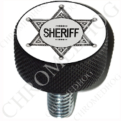 Harley Custom Seat Bolt - L KN Black Billet - Sheriff Badge Wht