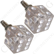 Dice License Plate Frame Bolts - Clear Glitter - Set of 2
