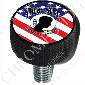 Harley Custom Seat Bolt - L KN Black Billet - POW*MIA US Flag