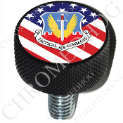 Harley Custom Seat Bolt - L KN Black Billet - USAF TAC US Flag