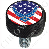 Harley Custom Seat Bolt - L KN Black Billet - USAF US Flag