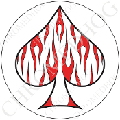 Premium Round Decal - Spade - Red Flame - White/ White