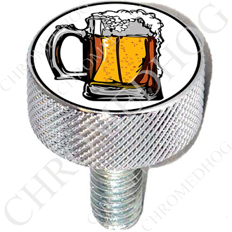 Harley Custom Seat Bolt - L KN Chrome Billet - Beer Mug