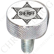Harley Custom Seat Bolt - L KN Chrome Billet - Sheriff Badge Wht