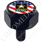 Harley Custom Seat Bolt - Hex Black Billet - Army Logo US Flag