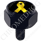 Harley Custom Seat Bolt - Hex Black Billet - Ribbon - Yellow/Blk