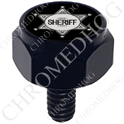 Harley Custom Seat Bolt - Hex Black Billet - Sheriff Badge Black
