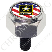 Harley Custom Seat Bolt - Hex Silver Billet - Army Logo US Flag