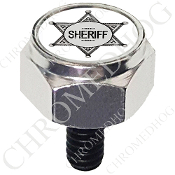Harley Custom Seat Bolt - Hex Silver Billet - Sheriff Badge - Wt