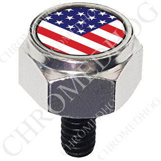 Harley Custom Seat Bolt - Hex Silver Billet - Flag - USA V