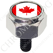 Harley Custom Seat Bolt - Hex Silver Billet - Flag - Canada
